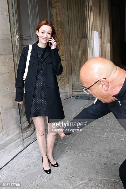 Audrey Marnay with Cats Head on her legs and JeanBaptiste Mondino attend the Christian Dior show as part of the Paris Fashion Week Womenswear...