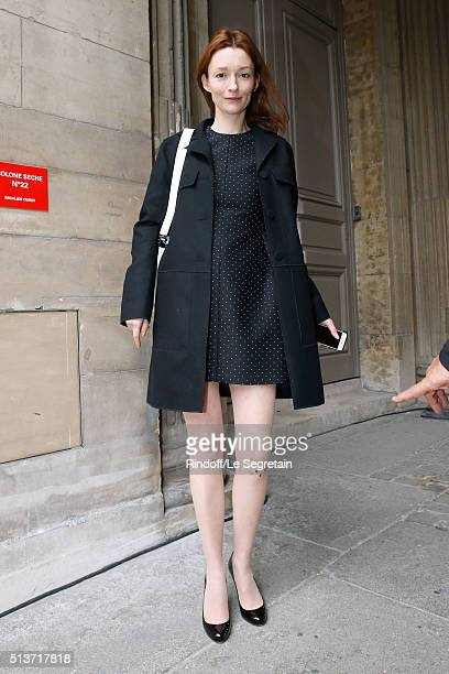 Audrey Marnay with Cats Head on her legs attend the Christian Dior show as part of the Paris Fashion Week Womenswear Fall/Winter 2016/2017 on March 4...