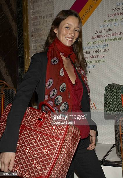 Audrey Marnay with the Goyard bag she designed