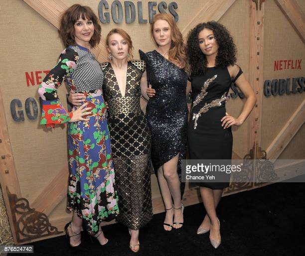 Audrey Moore Kayli Carter Christiane Seidel and Jessica Sula attend 'Godless' New York premiere at The Metrograph on November 19 2017 in New York City