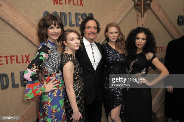 Audrey Moore Kayli Carter Kim Coates Christiane Seidel and Jessica Sula attend 'Godless' New York premiere at The Metrograph on November 19 2017 in...