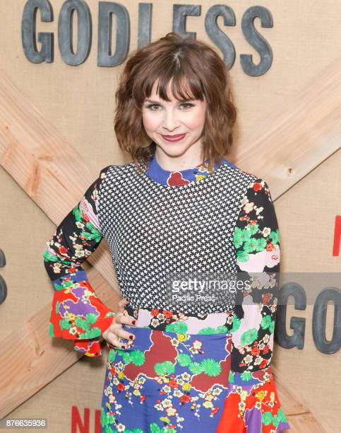 Audrey Moore wearing dress by Rixo attends Netflix Godless premiere at Metrograph