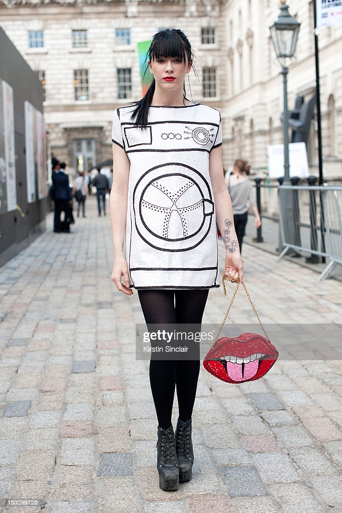 Audrey Napolean LA producer and DJ, wearing a Rodnik dress and bag with Jeffrey Campbell shoes on day 5 of London Fashion Week Spring/Summer 2013, on September 18, 2012 in London, England.