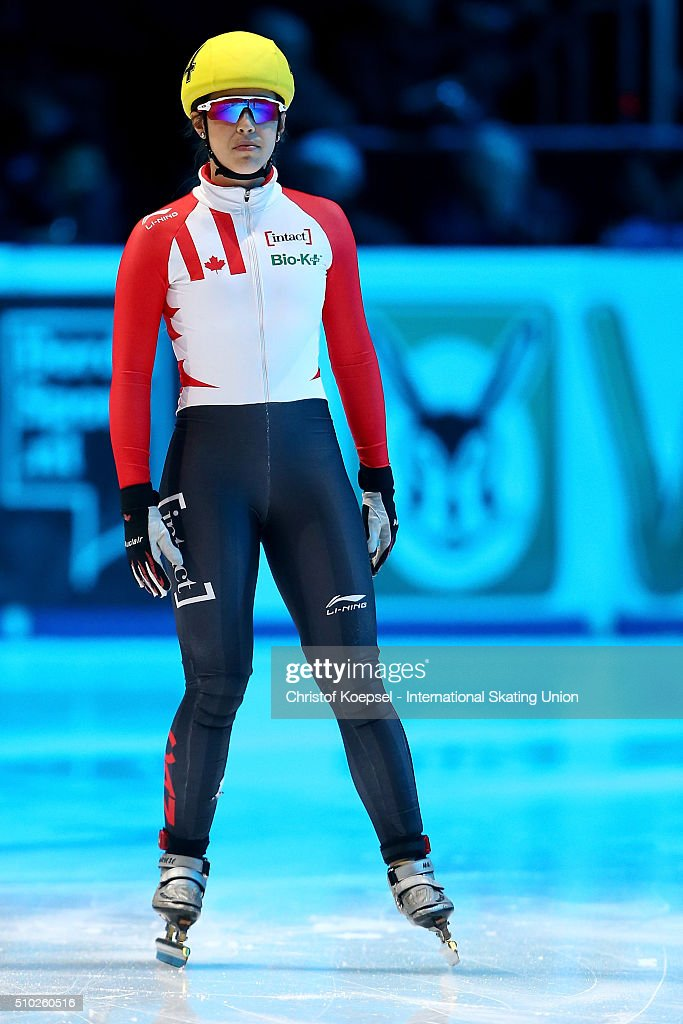 Audrey Phanneuf of Canada prepares prior to the ladies 1000m semifinal second race heat one during Day 3 of ISU Short Track World Cup at Sportboulevard on February 14, 2016 in Dordrecht, Netherlands.