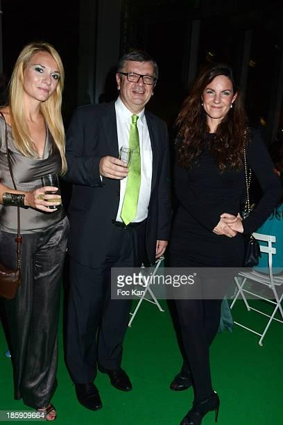 Audrey Pons Ricard CEO Philippe Savinel and Aude de Castet attend 'Le Bal Jaune' Dinner Hosted By Ricard As Part Of FIAC 2013 At Cite De La Mode Et...