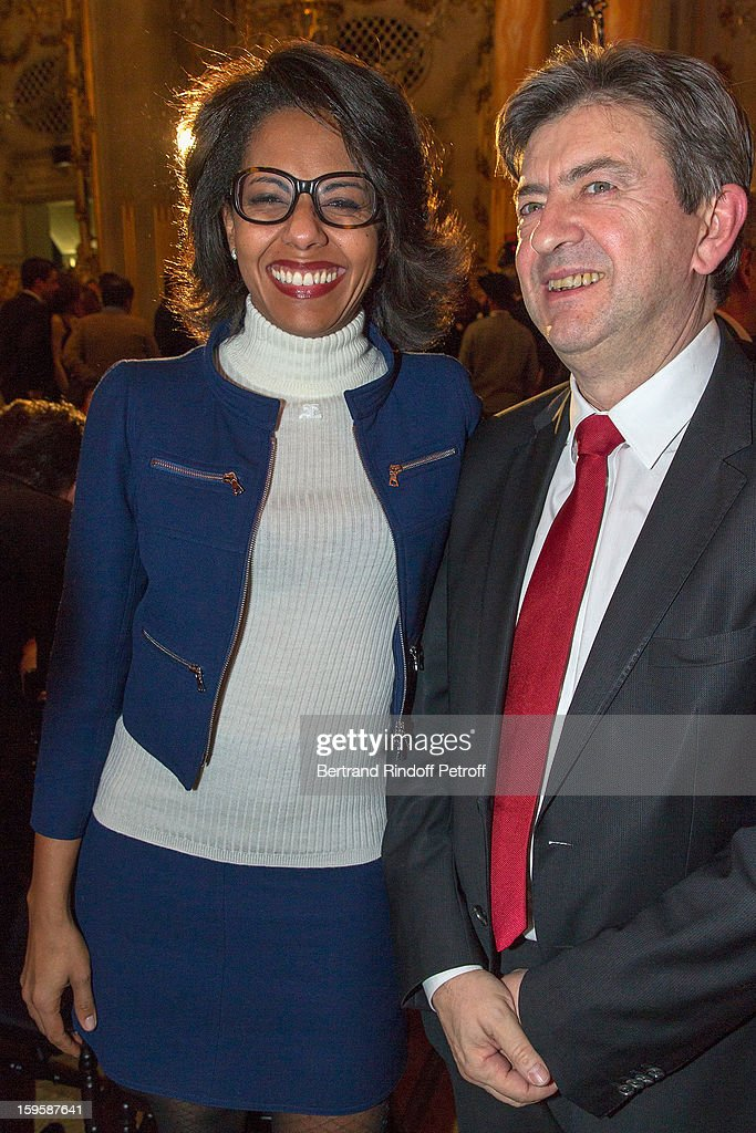 Audrey Pulvar (L) and Jean-Luc Melenchon attend the GQ Men of the year awards 2012 at Musee d'Orsay on January 16, 2013 in Paris, France.
