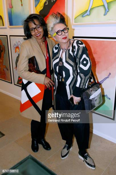 Audrey Pulvar and Orlan attend the 'pascALEjandro L'Androgyne Alchimique' Exhibition Opening at Azzedine Alaia Gallery on April 27 2017 in Paris...