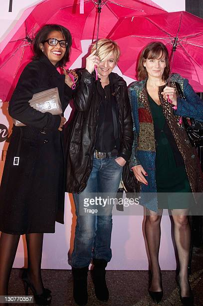 Audrey Pulvar Flavie Flament and Cecilia Hornus attend 'Pink Ribbon' Event Against Breast Cancer at Grand Palais on October 29 2011 in Paris France