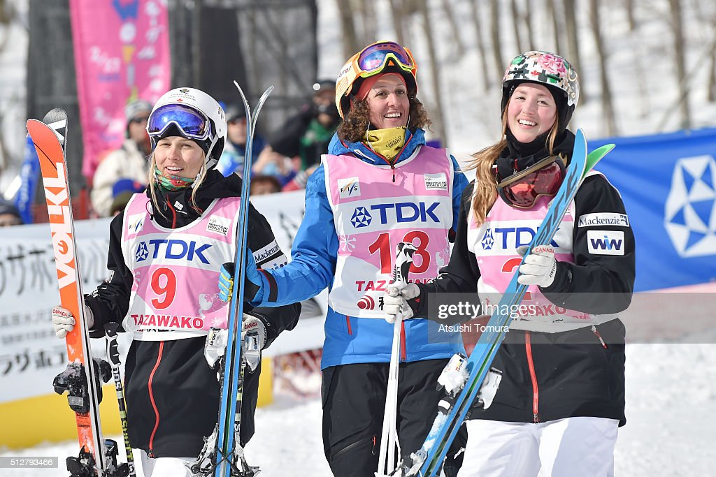 Audrey Robichaud (silver) of Canada, <a gi-track='captionPersonalityLinkClicked' href=/galleries/search?phrase=Deborah+Scanzio&family=editorial&specificpeople=822130 ng-click='$event.stopPropagation()'>Deborah Scanzio</a> (gold) of Switzerland and Chloe Dufour-Lapointe (bronze) of Canada smile during the FIS Freestyle Ski World Cup Tazawako In Akita supported by TDK at Tazawako Ski Resort on February 28, 2016 in Senboku, Japan.