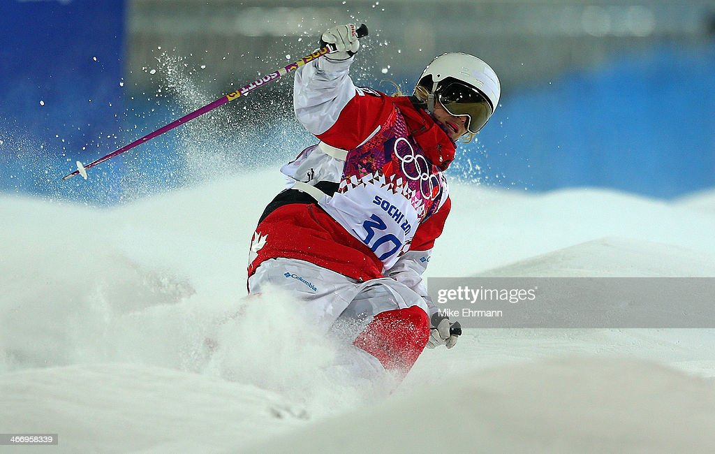 Audrey Robichaud of Canada practices during training for Moguls competition at the Extreme Park at Rosa Khutor Mountain on February 5, 2014 in Sochi, Russia.