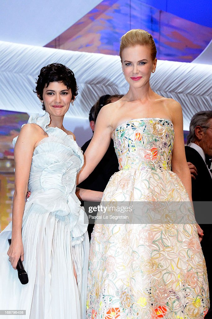 <a gi-track='captionPersonalityLinkClicked' href=/galleries/search?phrase=Audrey+Tautou&family=editorial&specificpeople=212727 ng-click='$event.stopPropagation()'>Audrey Tautou</a> and <a gi-track='captionPersonalityLinkClicked' href=/galleries/search?phrase=Nicole+Kidman&family=editorial&specificpeople=156404 ng-click='$event.stopPropagation()'>Nicole Kidman</a> appear on stage during the Opening Ceremony of the 66th Annual Cannes Film Festival at the Palais des Festivals on May 15, 2013 in Cannes, France.