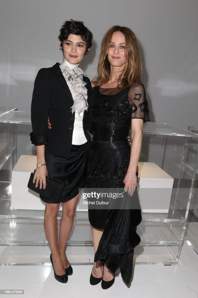 Audrey Tautou and Vanessa Paradis attend the 'No5 Culture Chanel' Exhibition - Photocall at Palais De Tokyo on May 3, 2013 in Paris, France.