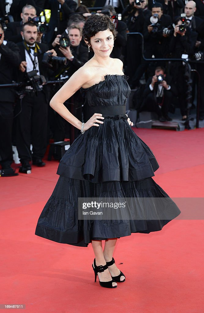 Audrey Tautou arrives at 'Venus In Fur' Premiere during the 66th Annual Cannes Film Festival at Grand Theatre Lumiere on May 25, 2013 in Cannes, France.