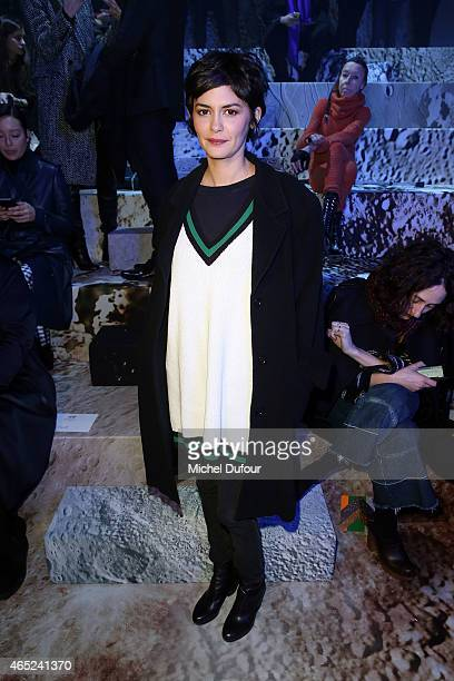 Audrey Tautou attends the HM show as part of the Paris Fashion Week Womenswear Fall/Winter 2015/2016 at Grand Palais on March 4 2015 in Paris France