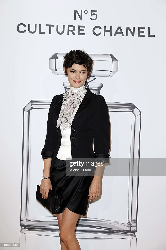 <a gi-track='captionPersonalityLinkClicked' href=/galleries/search?phrase=Audrey+Tautou&family=editorial&specificpeople=212727 ng-click='$event.stopPropagation()'>Audrey Tautou</a> attends the 'No5 Culture Chanel' Exhibition - Photocall at Palais De Tokyo on May 3, 2013 in Paris, France.