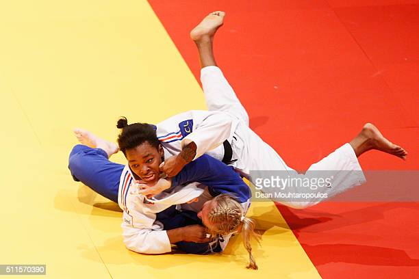 Audrey Tcheumeo of France and Luise Malzahn of Germany compete during the Dusseldorf Judo Grand Prix in their Womens 78kg Gold medal match held at...