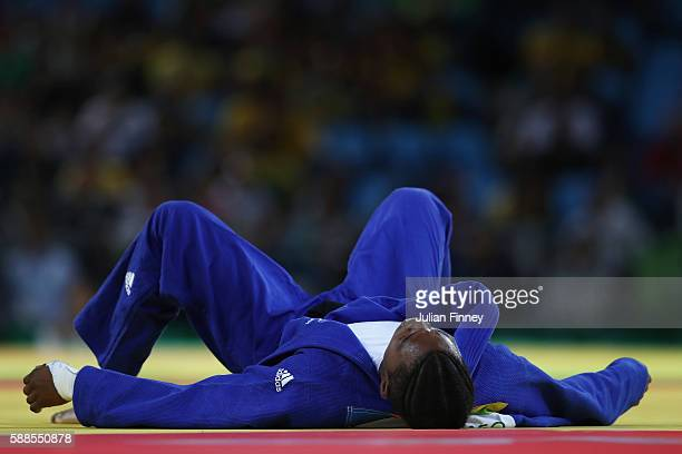 Audrey Tcheumeo of France reacts after being defeated by Kayla Harrison of the United States during the women's 78kg gold medal judo contest on Day 6...