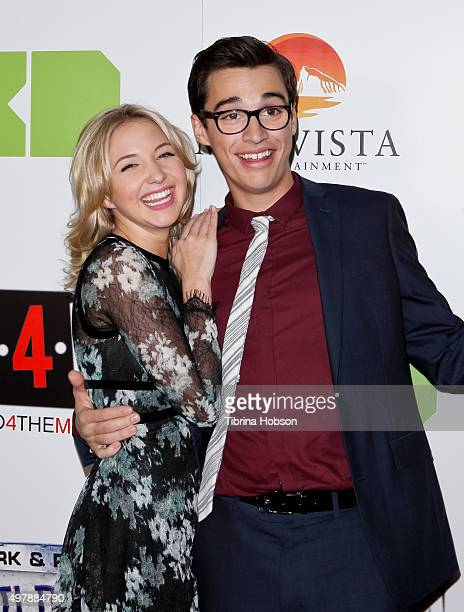 Audrey Whitby and Joey Bragg attend the premiere of Disney XD's original movie 'Mark Russell's Wild Ride' at ArcLight Hollywood on November 18 2015...