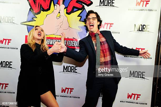 Audrey Whitby and Joey Bragg attend the WTF World Thumbwrestling Federation Screening on December 8 2016 in Los Angeles California