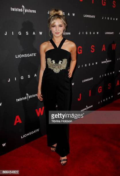 Audrey Whitby attends the premiere of Lionsgate's 'Jigsaw' at ArcLight Hollywood on October 25 2017 in Hollywood California