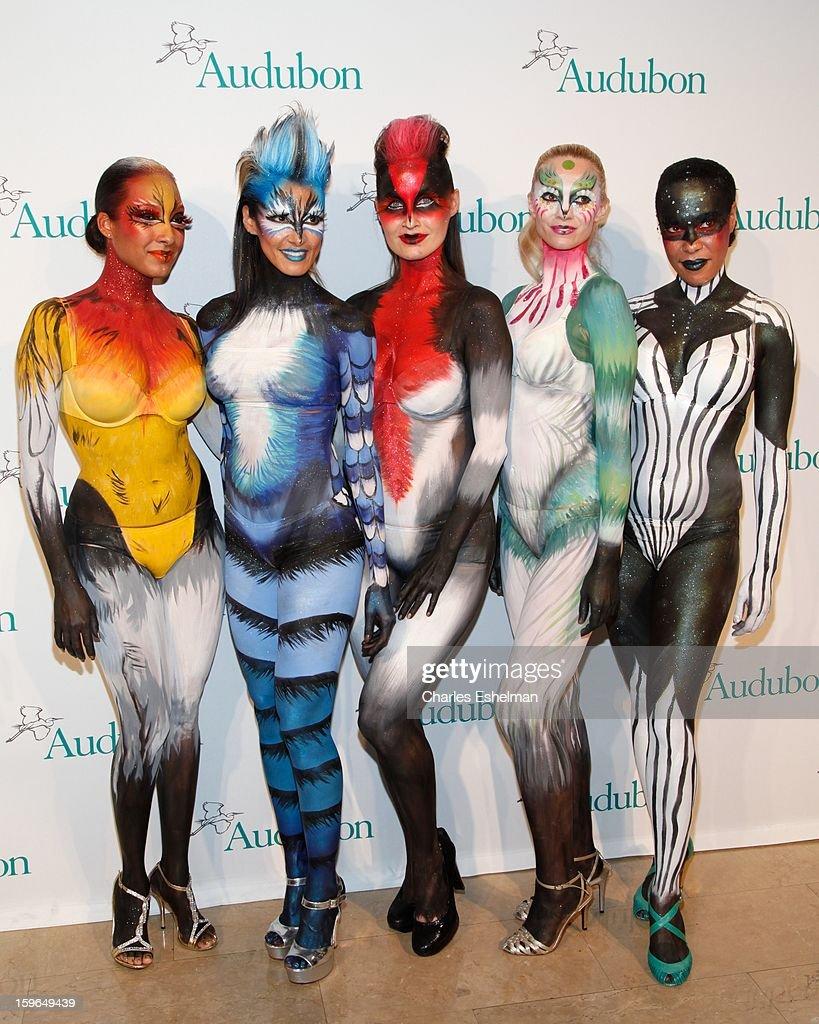 Audubon bird models attend the 2013 National Audubon Society Gala Dinner on January 17, 2013 at The Plaza Hotel in New York, City.