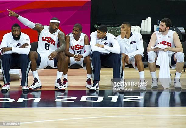 Aug 12 2012 London England United Kingdom Members of team USA the 'Dream Team' JAMES HARDEN LEBRON JAMES CHRIS PAUL ANTHONY DAVIS RUSSELL WESTBROOK...