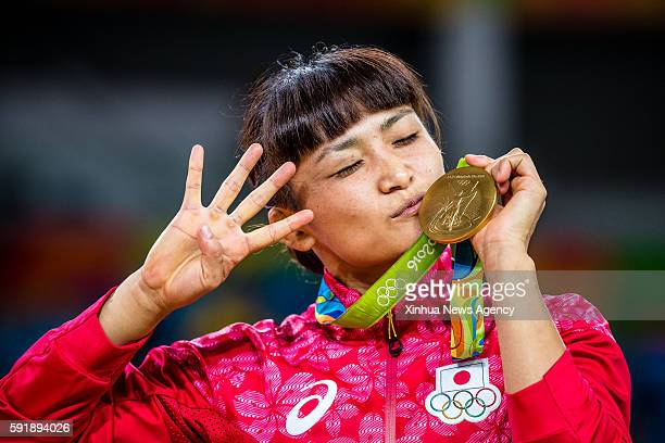 JANEIRO Aug 17 2016 Gold medalist Japan's Kaori Icho reacts during the awarding ceremony for the women's freestyle 58kg category of Wrestling at the...