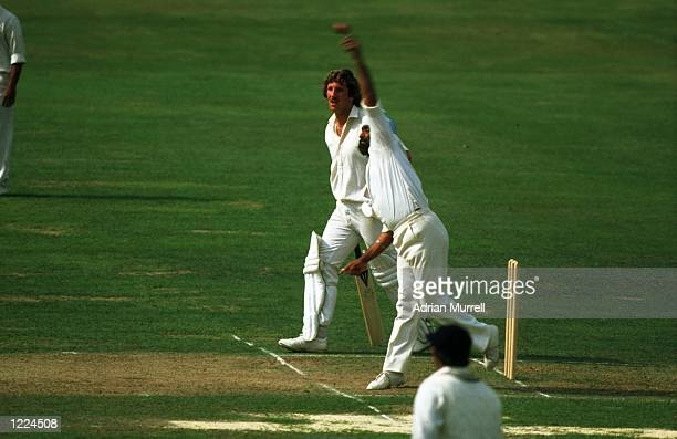 Ian Botham of England prepares to run as Bishan Singh Bedi of India bowls during the Second Test match at Lord's in LondonThe match ended in a draw...