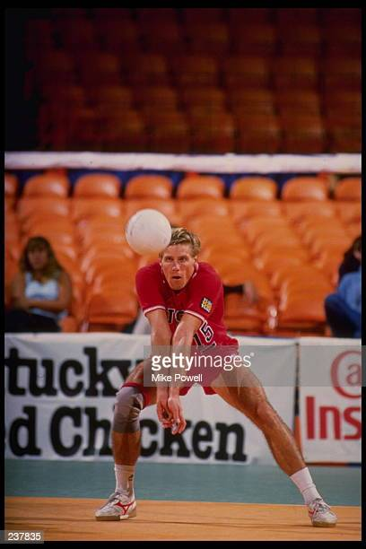 Karch Kiraly of the USA bumps the ball during the USA v France match in the 1984 Summer Olympic Games in Los Angeles at the Long Beach Arena in Long...