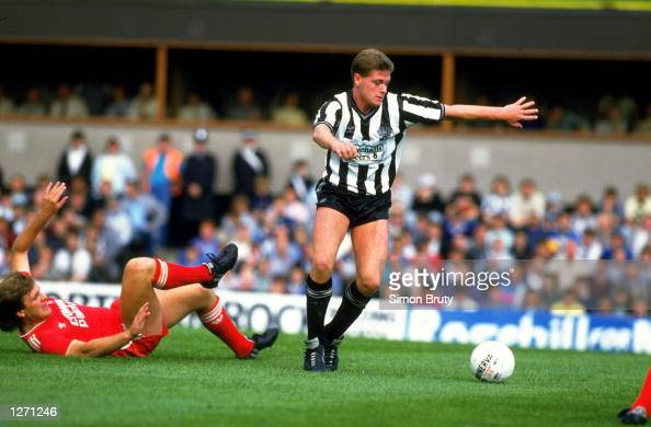 Paul Gascoigne of Newcastle United leaves Jan Molby of Liverpool sprawled on the ground during a Today League Division One match at St James'' Park...