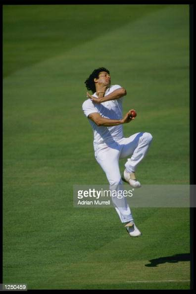 Imran Khan of Pakistan bowls for the Rest Of The World X1 against the MCC at Lords during the Bicentenary Match Mandatory Credit Adrian...