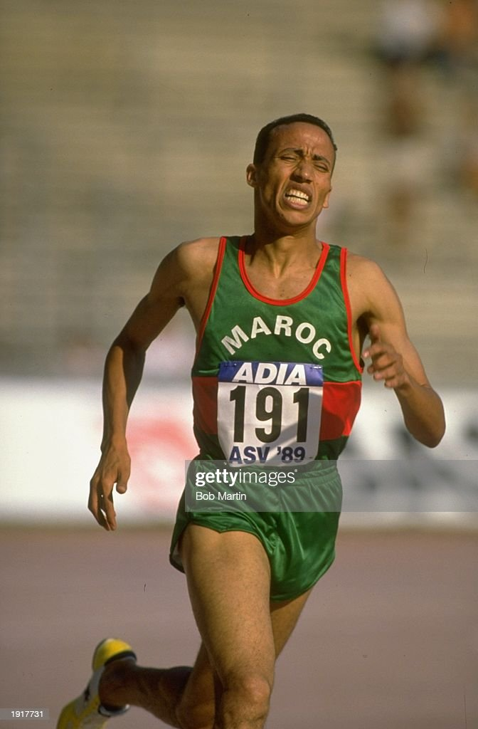 Said Aouita of Morocco on his way to winning the 3000 Metres event at the Cologne Grand Prix in Cologne Germany Aouita set a New World Record in this...