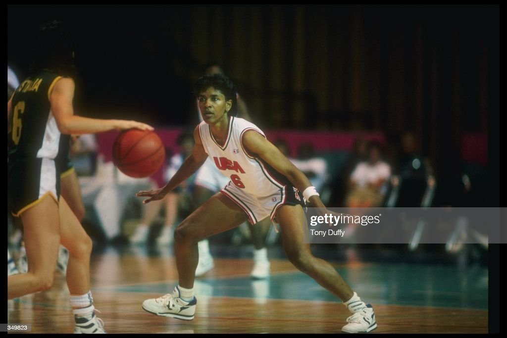 Lynette Woodard of the United States plays defense during a game at the Goodwill Games. Mandatory Credit: Tony Duffy /Allsport