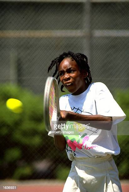 Venus Williams of the USA plays a backhand in a practice session Florida USA Mandatory Credit Allsport UK /Allsport