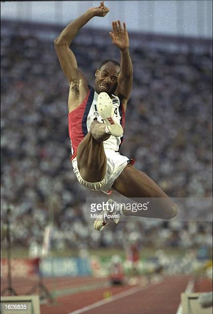 Mike Powell of the USA in action during the Long Jump event at the 1991 World Championships in Tokyo He won the event with a jump of 895 Metres...