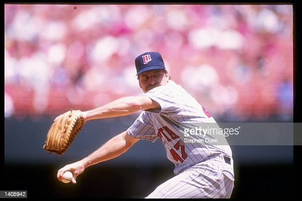 Pitcher Jack Morris of the Minnesota Twins pitches against the California Angels at Anaheim Stadium in Anaheim California