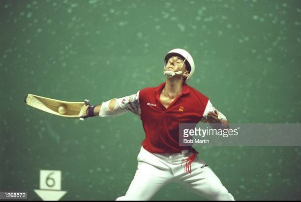 A competitorin action during a match between Spain and Mexico demonstrating the game of Pelota at the 1992 Olympic Games in Barcelona Spain Mandatory...