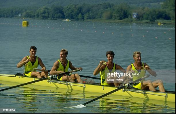 Australia win gold in the mens coxless fours at the Barcelona Olympic Games in Spain Mandatory Credit Mike Powell /Allsport