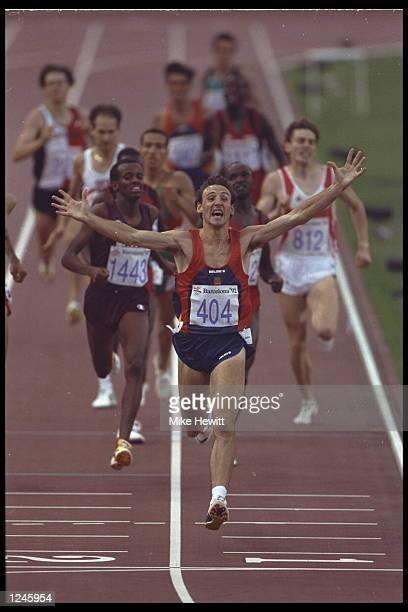 Fermin Cacho of Spain wins the 1500m final during the 1992 Summer Olympics in Barcelona Spain Mandatory Credit Mike Hewitt/Allsport