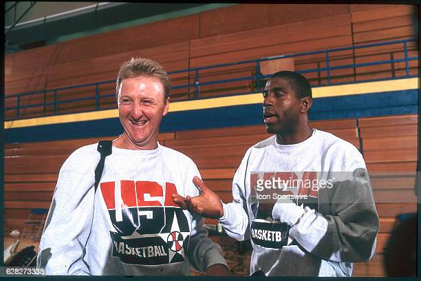 Larry Bird and Magic Johnson of Team USA the Dream Team answers questions from the media after practice for the men's basketball competition at the...