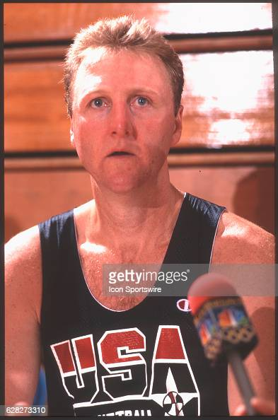 Larry Bird of Team USA the Dream Team answers questions from the media after practice for the men's basketball competition at the 1992 Summer...