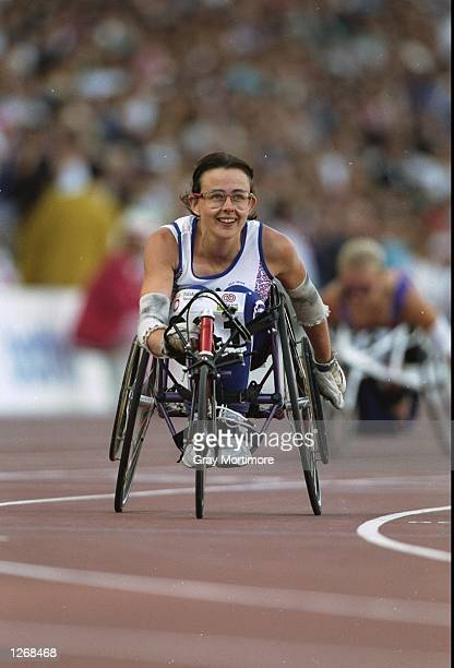 Tanni Grey of Great Britain smiles after winning the gold medal in the 400 metres event at the 1992 Paralympics in Barcelona Spain Mandatory Credit...