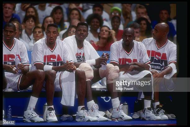 Team USA looks on during a game at the Olympic Games in Barcelona Spain Mandatory Credit Mike Powell /Allsport