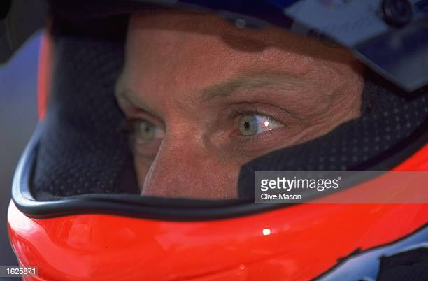 A helmeted portrait of Briton Carl Fogarty during the World Superbike Championships at Brands Hatch England Mandatory Credit Clive Mason/Allsport