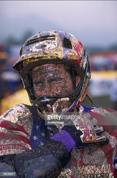 A mud splattered Missy Giove of the USA after the Womens Downhill event during the World Mountain Bike Championships at Kirchzarten in Germany Giove...