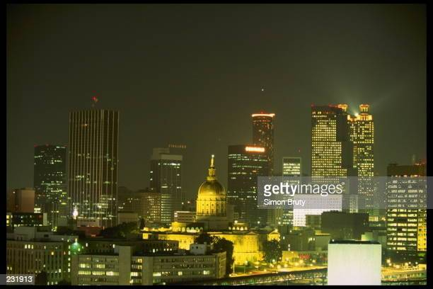 A nightime view of the skyline of Atlanta Georgia Atlanta will host the 1996 Summer Olympic Games
