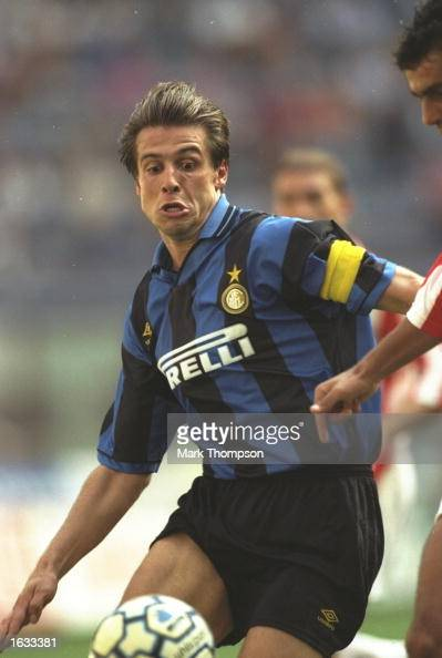 Nicola Berti of Inter Milan in action during a Serie A match against Vincenza at the San Siro Stadium in Milan Italy Inter Milan won the match 10...