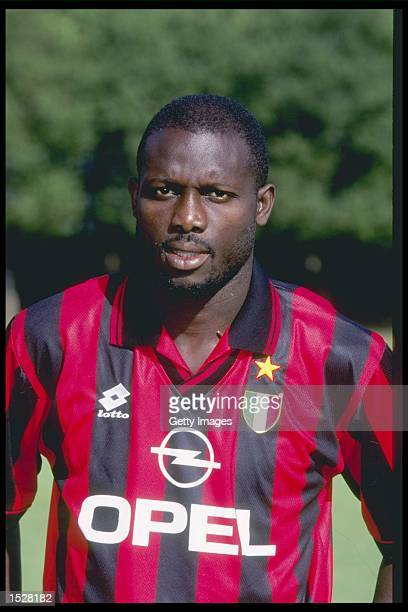 A portrait of George Weah of AC Milan taken during the club photocall Mandatory Credit Allsport UK