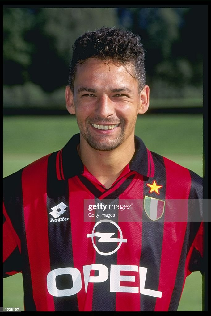 A portrait of <a gi-track='captionPersonalityLinkClicked' href=/galleries/search?phrase=Roberto+Baggio&family=editorial&specificpeople=216586 ng-click='$event.stopPropagation()'>Roberto Baggio</a> of A.C Milan taken during the club photocall. Mandatory Credit: Allsport UK