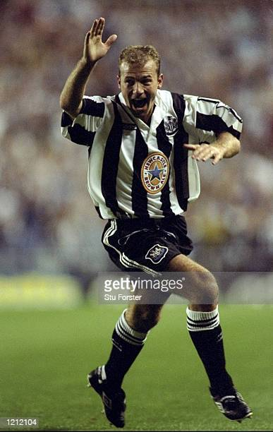 Alan Shearer of Newcastle United celebrates scoring his first goal for the Magpies during an FA Carling Premiership match against Wimbledon at St...